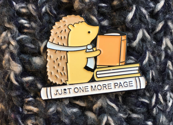 Just One More Page Enamel Pin