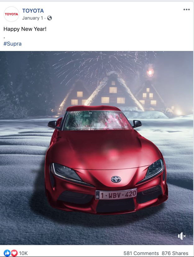 Happy new year 2020 message from Toyota on LinkedIn