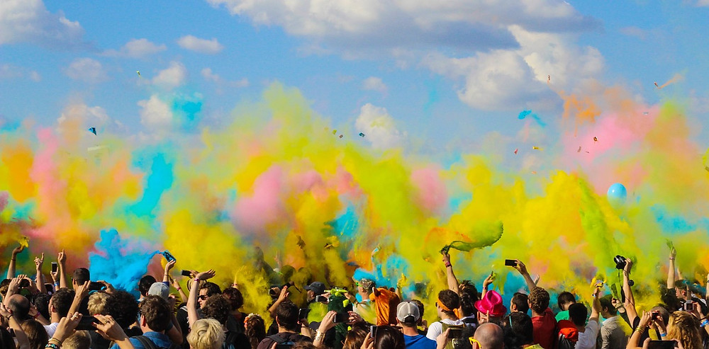 User-engagement: summer crowd with colourful smoke.