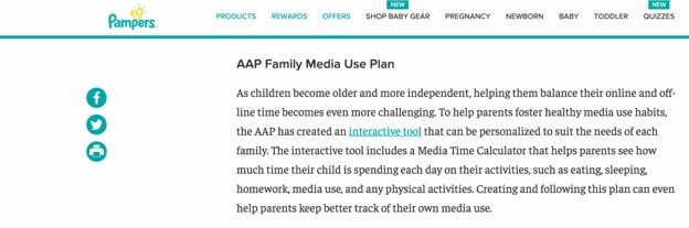 Pampers blog post