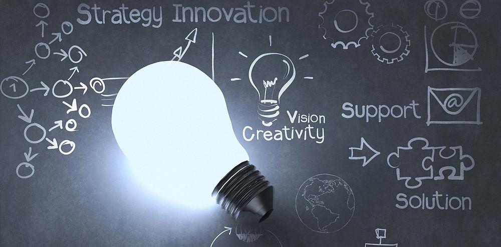Organic marketing and business values: light bulb on chalkboard