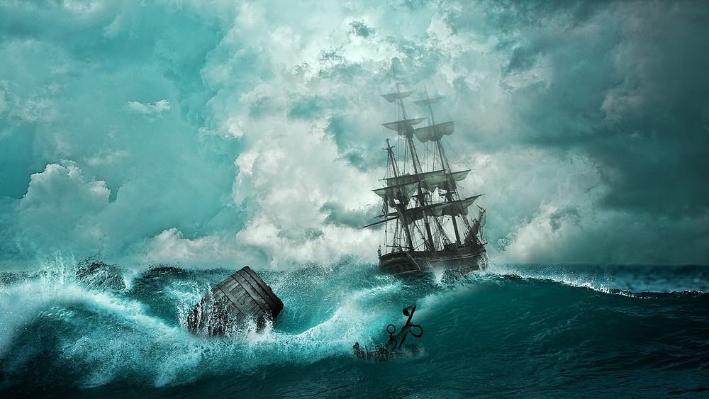 Painting of an 18th century sail ship on storm waters and a cask fallen overboard