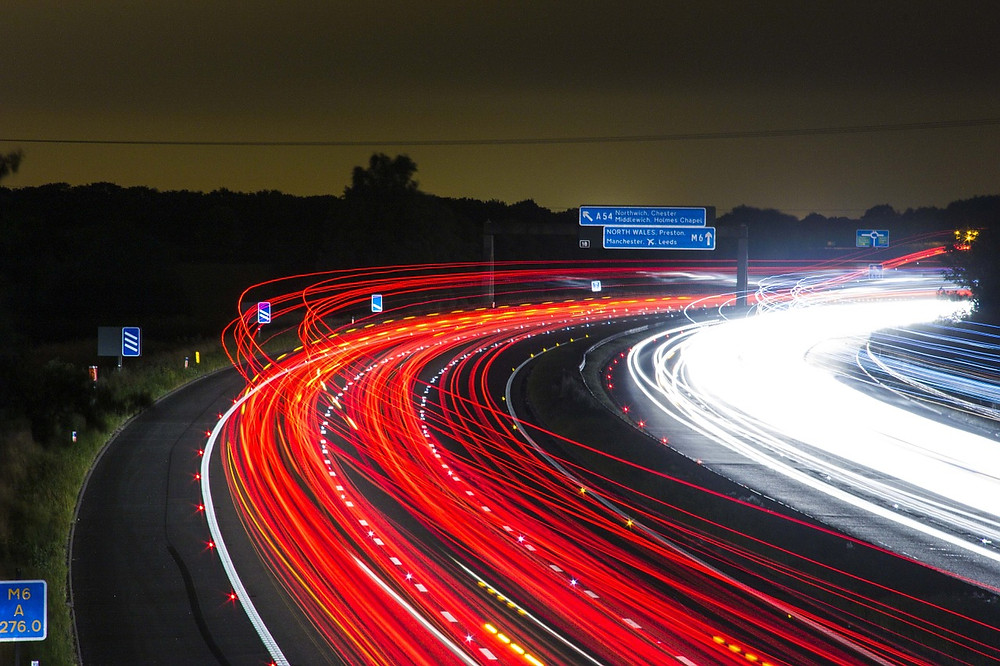 Traffic: busy road M6 at night.