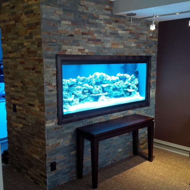 Custom Saltwater Aquarium with Rock Wall