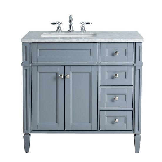 """Anastasia French 36"""" Grey Single Sink Vanity"""