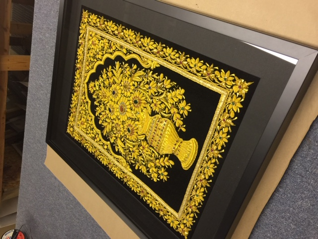 Framed Gold & Gem Embroidery