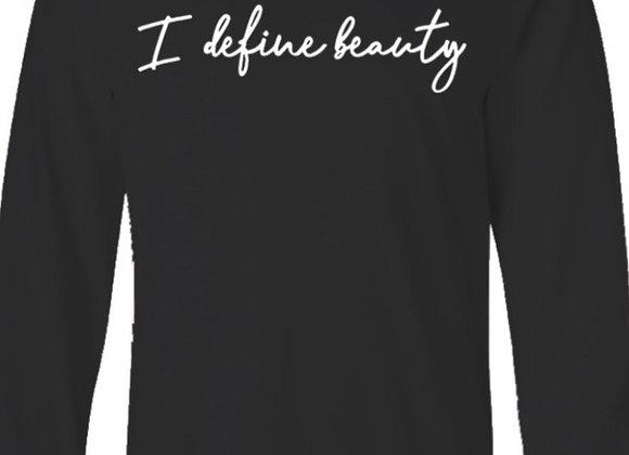 I Define Beauty- Black Long Sleeve Tee