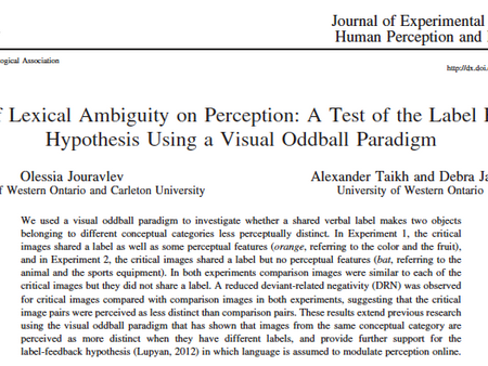Verbal labels modulate perception - New paper in JEP:HPP