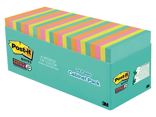 Post-it® Super Sticky Cabinet Pack 24 Pads - Miami Collection