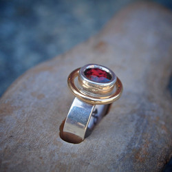Silver, Gold and Garnet Ring