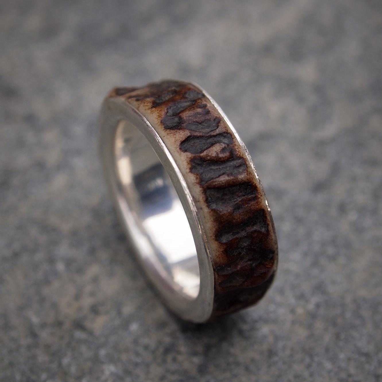 Silver & Red Deer Antler Ring