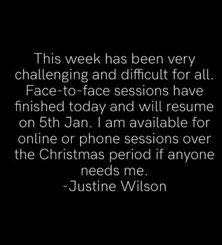 Face to face counselling/psychotherapy sessions December 2020 update.