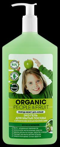 Эко гель для мытья посуды с органическими зеленым яблоком и киви