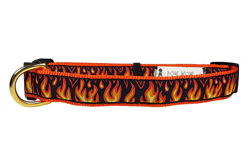 25mm Wide Flames Dog Collar