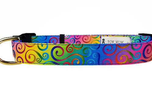 25mm Wide Rainbow Swirls Dog Collar