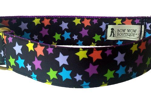 38mm Wide Multi Coloured Stars Dog Collar