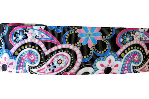38mm Wide Pink & Blue Paisley on Black Martingale Collar