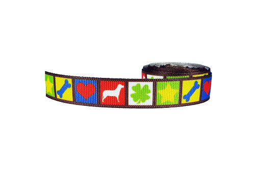 19mm Wide Dog, Clover, Star, Bone and Heart Design Lead