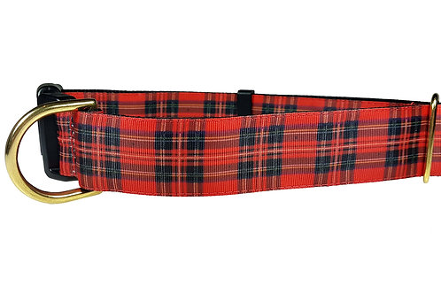 38mm Wide Red Plaid Dog Collar