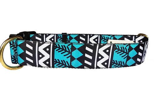 38mm Wide Blue/Black Geometric Shapes Dog Collar