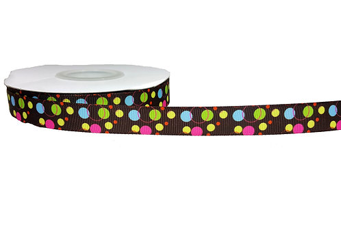 19mm Wide Green, Pink, Blue Dot on Brown Double Ended Lead