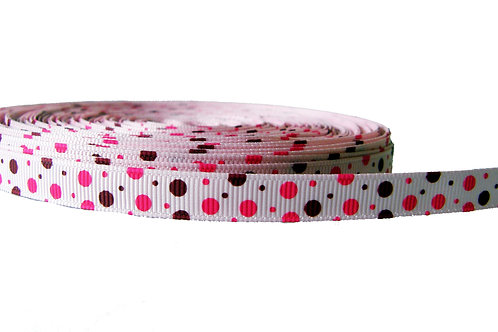 12.7mm Wide Pink and Brown Dots Double Ended Lead