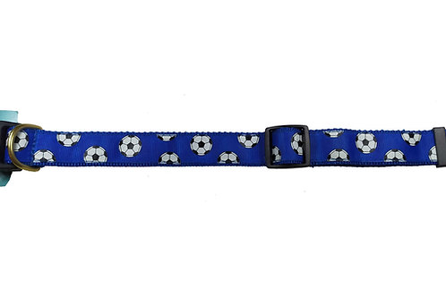 25mm Wide Soccer Balls on Royal Blue Dog Collar