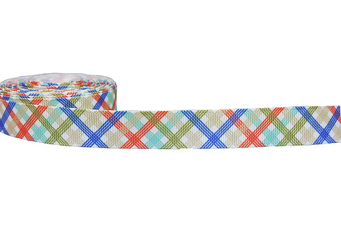 19mm Wide Olive Tartan Double Ended Lead