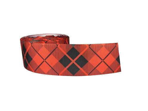 38mm Wide Black Diamonds on Red Dog Collar