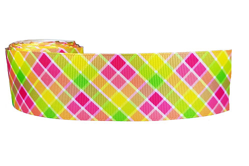 38mm Wide Pink & Green Check Martingale Dog Collar
