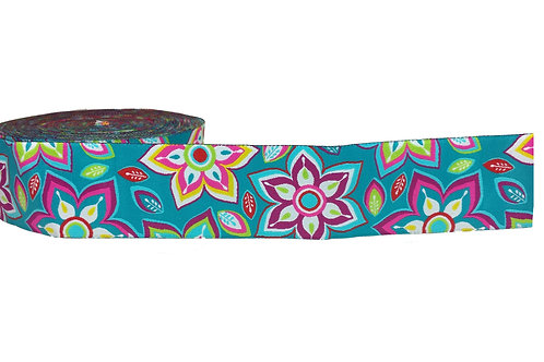 38mm Wide Teal w/ Pink Flowers Martingale Collar