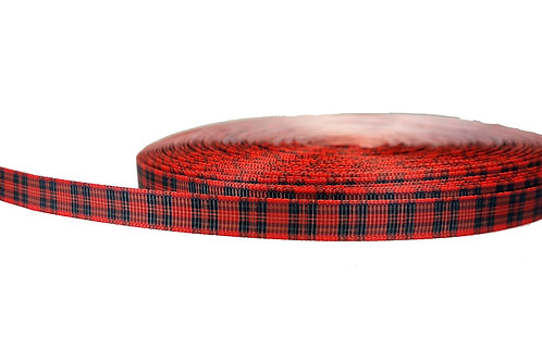 12.7mm Wide Red Tartan Double Ended Lead
