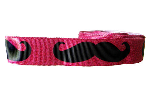 25mm Wide Moustaches on Pink Double Ended Lead