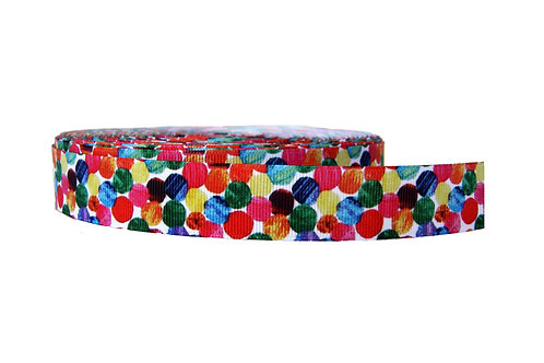 25mm Wide Multi Coloured Dots Lead
