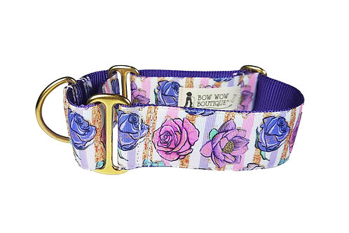 38mm Wide Pink & Purple Roses Martingale Collar