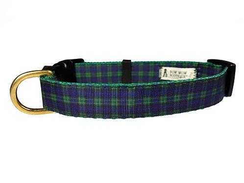 19mm Wide Green/Blue Tartan Collar