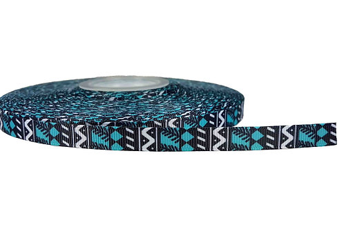 12.7mm Wide Blue/Black Geometric Shapes Double Ended Lead