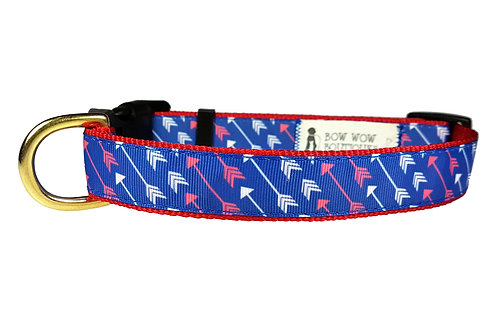 25mm Wide White & Red Arrows on Blue Dog Collar