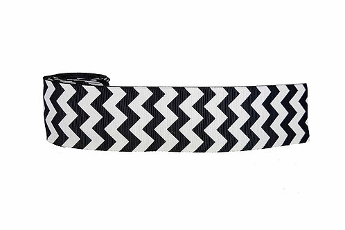 38mm Wide Black & White Chevron Martingale Dog Collar