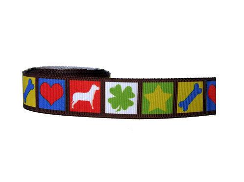 25mm Wide Love, Dog, Clover, Star, Bone Dog Collar