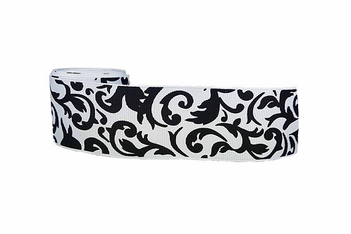 38mm Wide Black Filigree on White Martingale Dog Collar