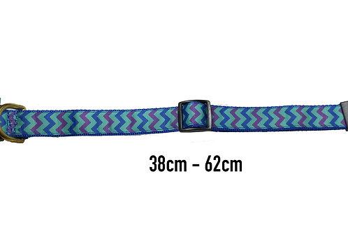 25mm Wide Blue & Purple Chevron Dog Collar