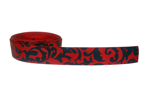 25mm Wide Filigree on Red Martingale Collar