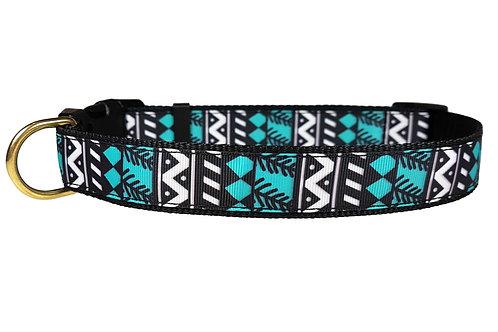 25mm Wide Blue/Black Geometric Shapes Dog Collar