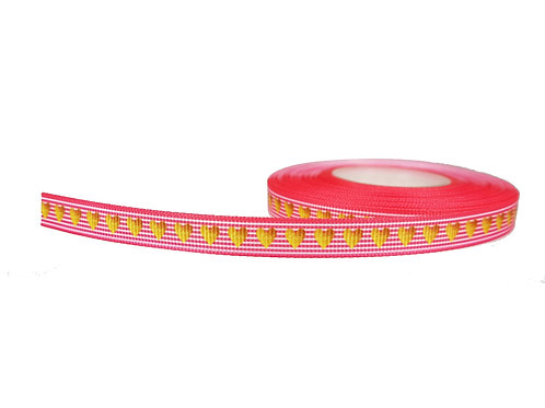 12.7mm Wide Gold Hearts on Pink Stripes Swirls Collar