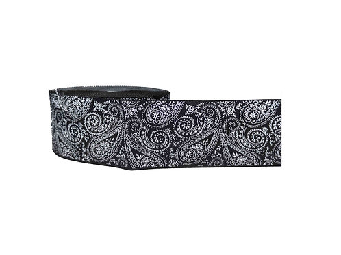 38mm Wide Black & White Paisley Dog Collar