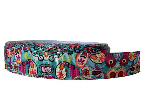 25mm Wide Multi Coloured Paisley Martingale Collar