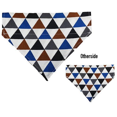 Medium Blue, Silver, Black Triangles Bandana