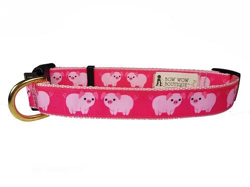 25mm Wide Pink Piggys Dog Collar