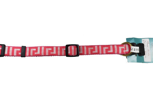 19mm Wide Pink Greek Key Dog Collar